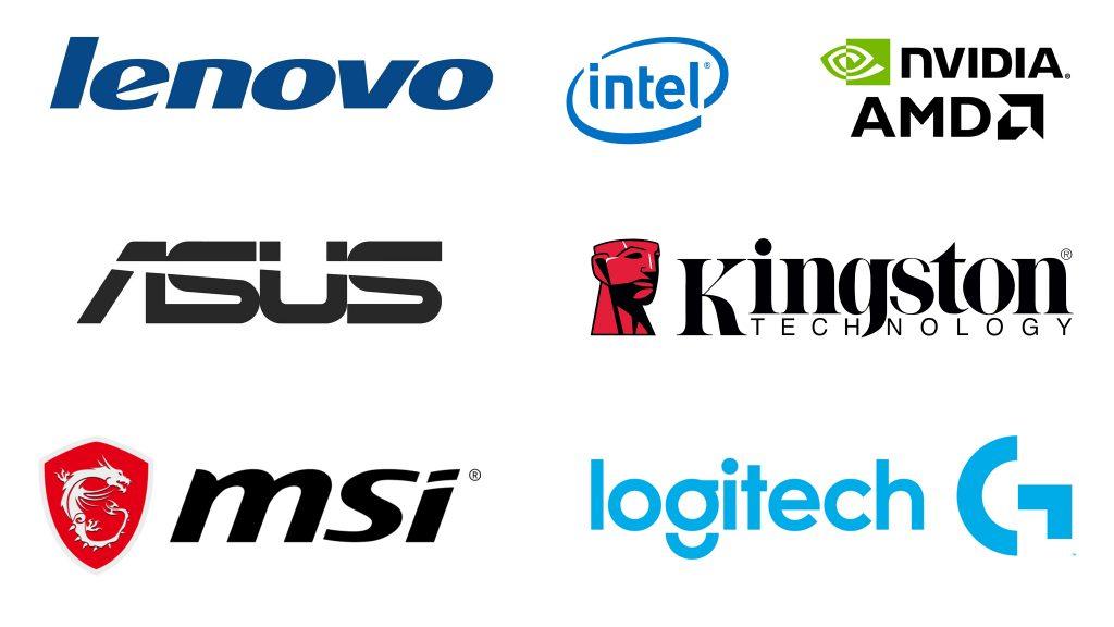 Marques Asus, Lenovo,intel,Nvidia,AMD,Kingston,MSI,Logitech