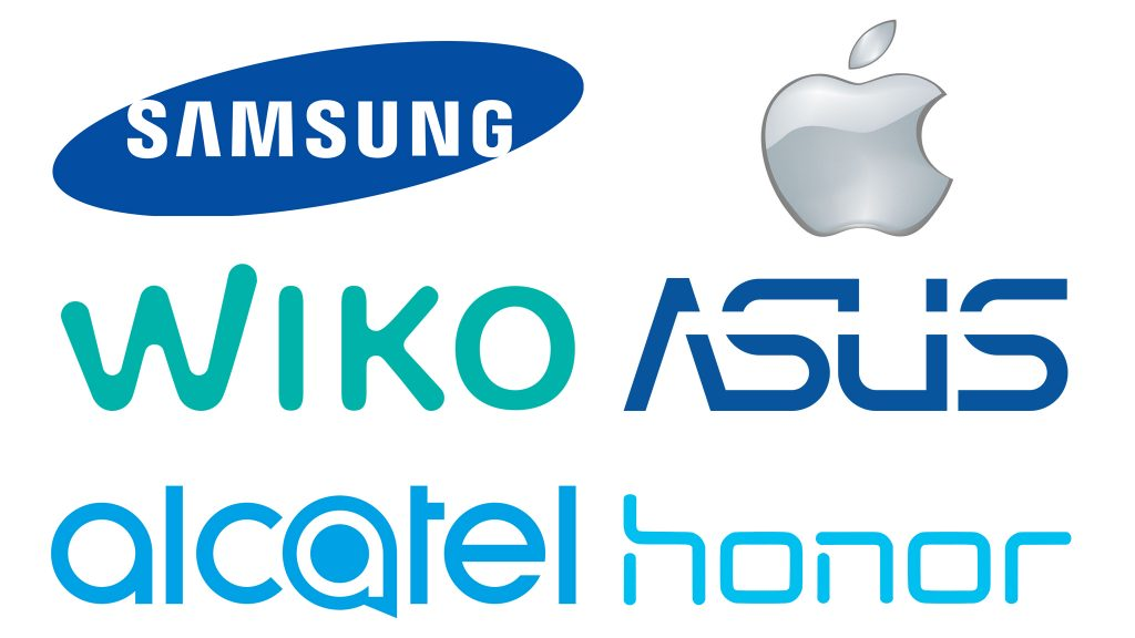 Marques smartphones, samsung,apple,wiko,asus,alcatel,honor